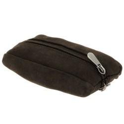 porte monnaie bourse zippée porte clé intégré en cuir peau pêche neuf Sadi