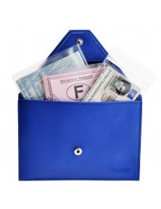 Charmoni® porte papiers de voiture enveloppe à bouton pression permis de conduire la carte grise en aspect cuir saffiano Mazlum