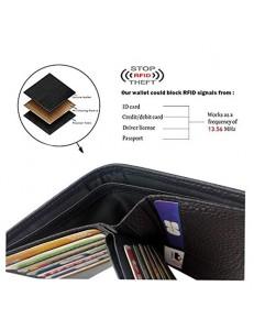 Grand Classique Portefeuille en Cuir Protection RFID Blocage Homme