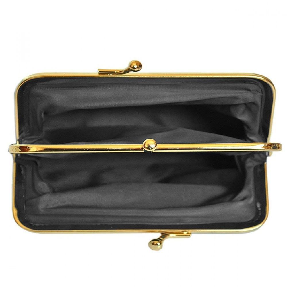 H Double Fermoir pour pi/èces 3 Compartiments LIVAN x 9,5 cm E 14 cm L Cuir dagneau Poche zipp/ée x 2 cm Beige Porte-Monnaie Clic-Clac R/étro