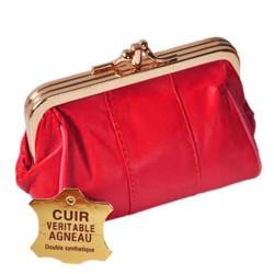 porte monnaie zippée à fermoir doré clic clac femme en cuir véritable neuf Sara